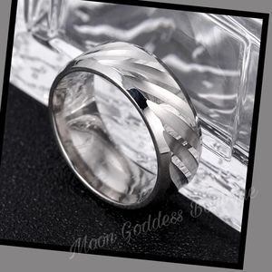 Men's Titanium Water Wave Design Ring Band Silver